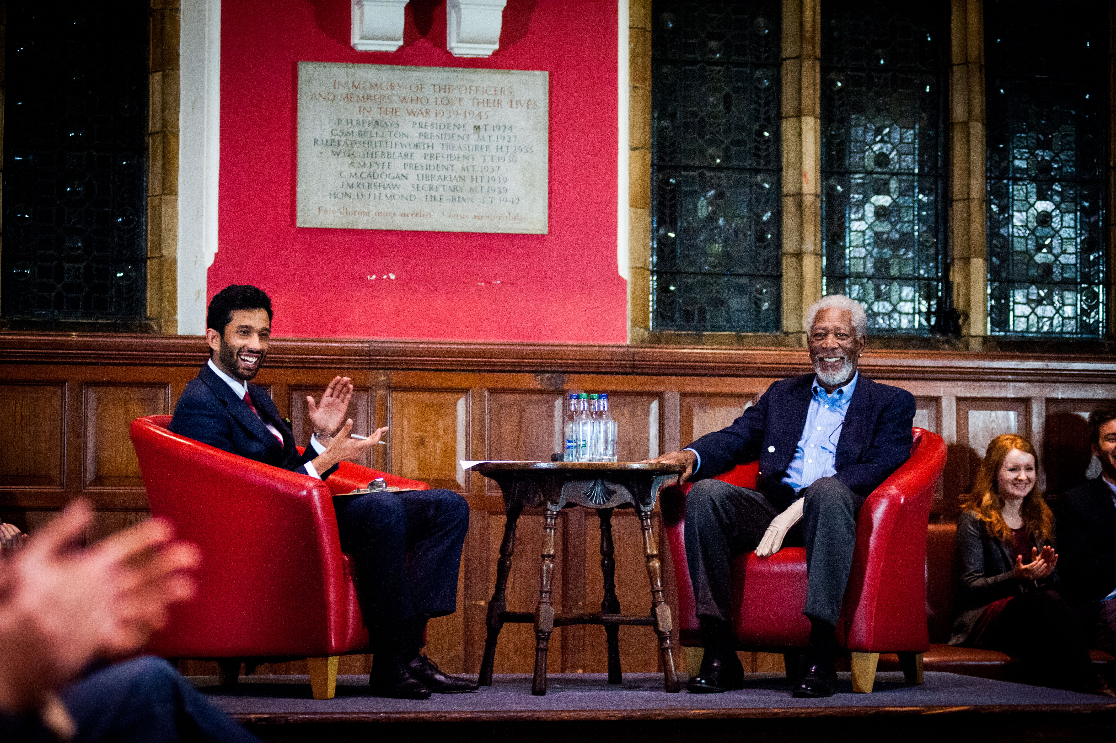 Oxford, U.K., November 11, 2014--Oxford University Union President Mayank Banerjee moderates SAG Foundation Conversations with Morgan Freeman at Oxford (Photo credit: Roger Askew/Oxford University)