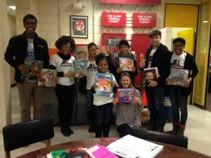 Actors from Motown the Musical read to students at the Josiah Quincy elementary school