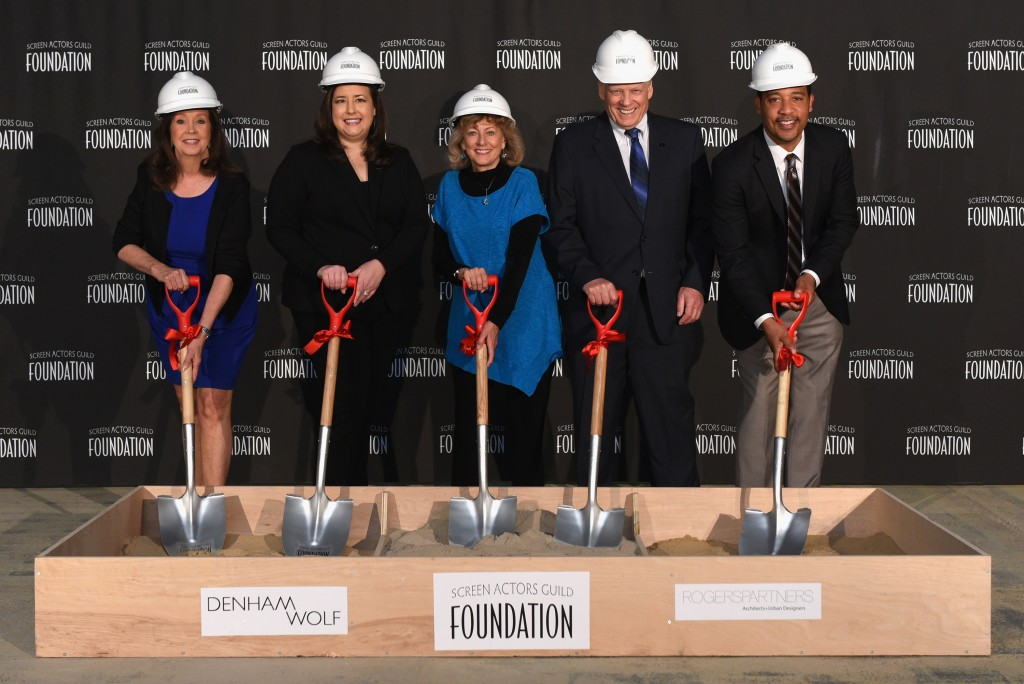 NEW YORK, NY - APRIL 28: (L-R) The SAG Foundation New York Committee Cyd Wilson, Rebecca Damon, Maureen Donnelly, John McGuire and David White attend the SAG Foundation breaks ground on Actors Center Signature Space at 247 West 54th Street In New York on April 28, 2015 in New York City. (Photo by Andrew Toth/Getty Images for SAG Foundation)