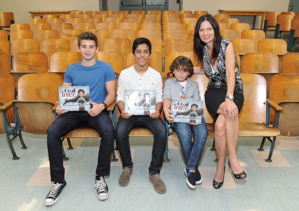 NORTH HOLLYWOOD, CA - SEPTEMBER 24:  Actors Jack Griffo, Karan Brar and August Maturo with executive director of the Rise Up Foundation Alane Adams attend the SAG Foundation and Rise Up Foundation Read to Me Challenge at Coldwater Canyon Elementary School on September 24, 2015 in North Hollywood, California.  (Photo by Angela Weiss/Getty Images for SAG Foundation)