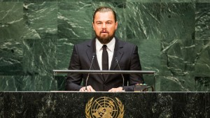 NEW YORK, NY - SEPTEMBER 23: Actor Leonardo DiCaprio speaks at the United Nations Climate Summit on September 23, 2014 in New York City. The summit, which is meeting one day before the UN General Assembly begins, is bringing together world leaders, scientists and activists looking to curb climate change. (Photo by Andrew Burton/Getty Images)